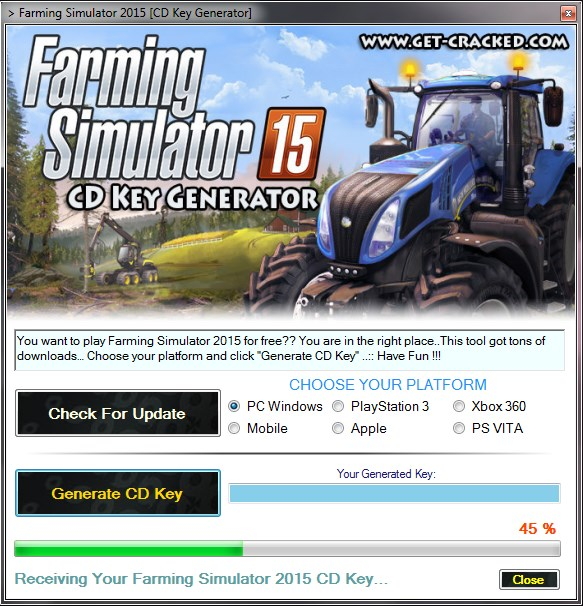 faqrming simulator 2015 Inombolo ye-serial Giveaway, ukudlala on umusi for free
