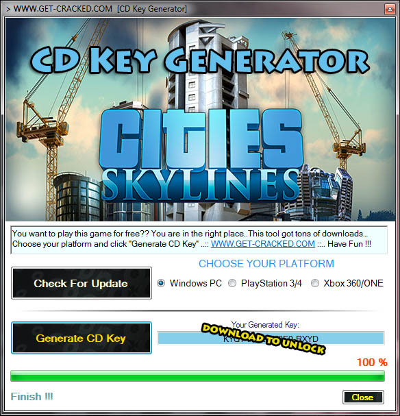 free activation codes for game Cities: Skylines