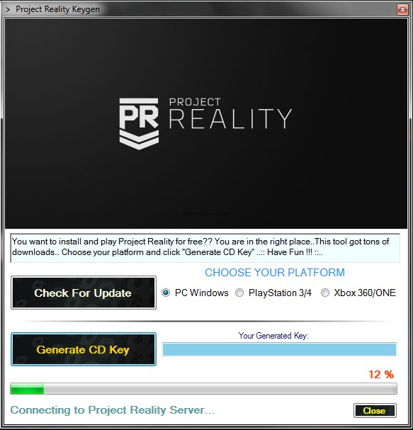 play Project Reality for free .. CD lykill uppljóstrun