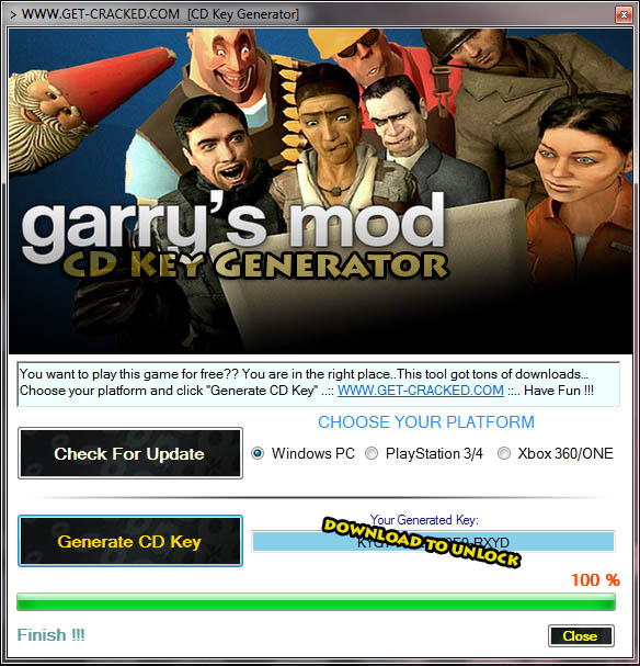 Download chave de cd gratuito Garrys Mod