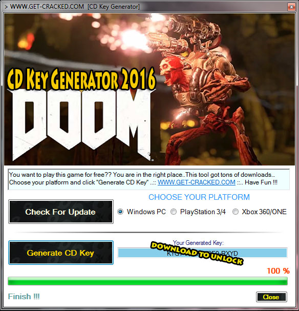 Doom 2016 game cd ky generator