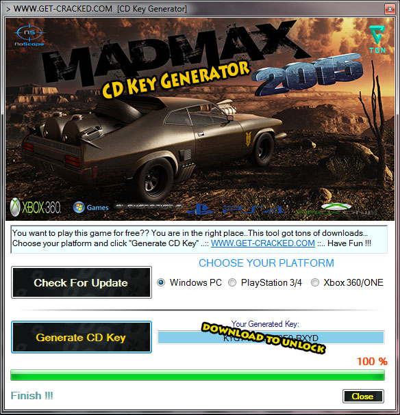 mad max 2015 cd generator key