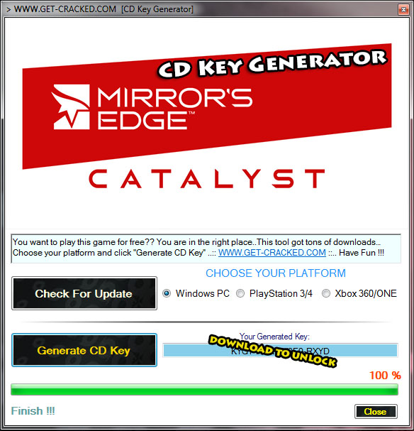 Mirror's Edge Catalyst cd key generator tool 2016