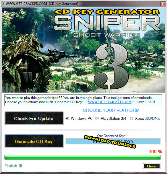 Sniper Ghost Warrior 3 cd generator key