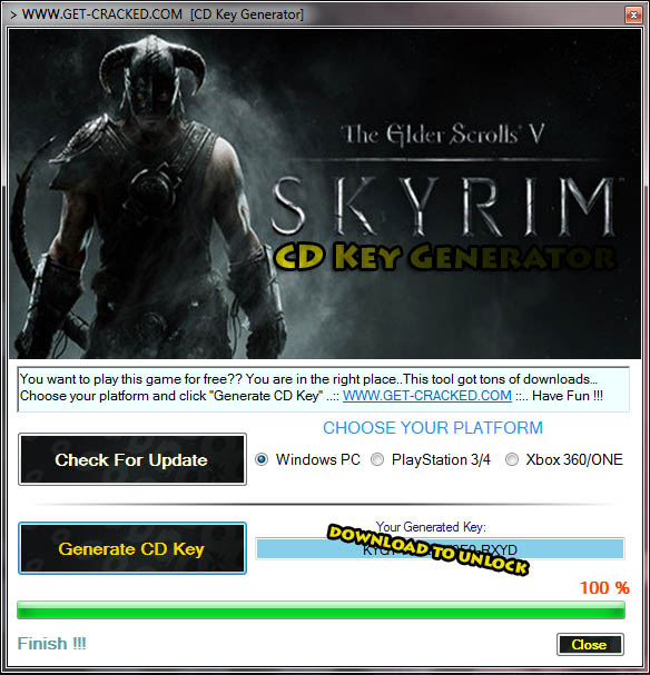 The Elder Scrolls V Skyrim Generator Free CD Key - Keygen