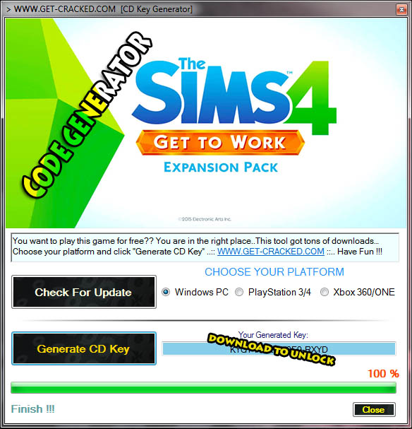 Завантажити Sims 4 Get to Work Origin Code Generator