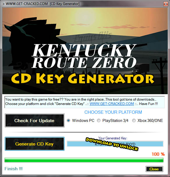 use our kentucky route zero cd key generator to generate free product code