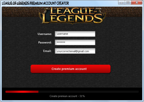 free accounts for League of Legends game