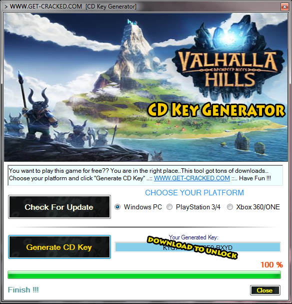 download Valhalla Hills cd key generator and generate your own free product key