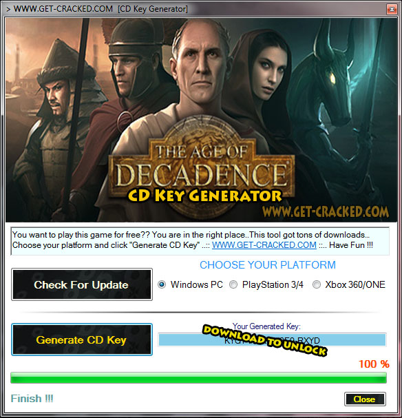 Age of Decadence key generator tool 2015