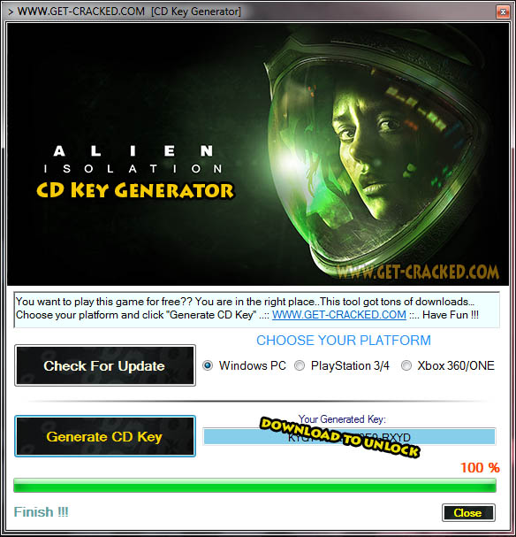 Clé de cd gratuit Alien isolement