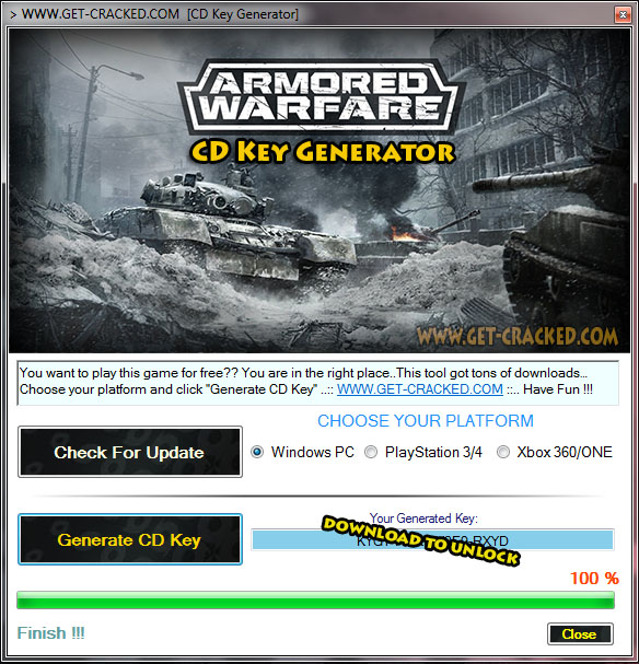 Armored Warfare free product keys