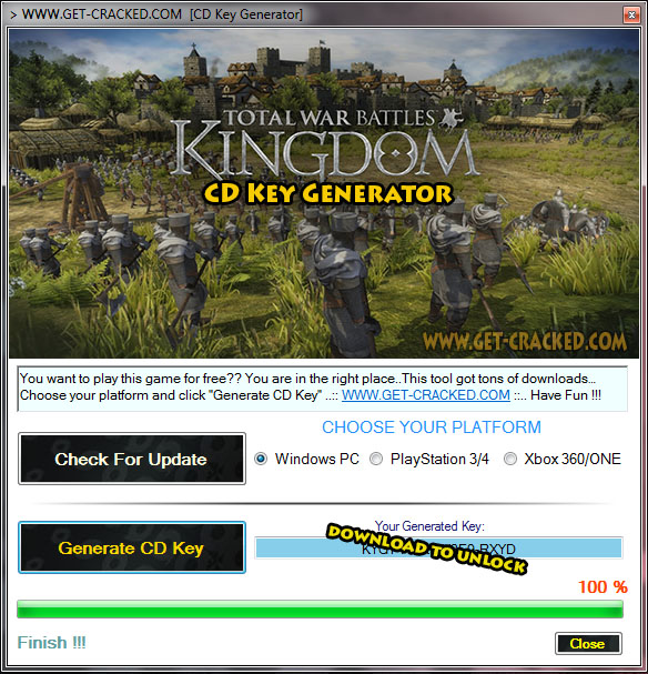 Total de batalhas da Guerra: Kingdom free product keys