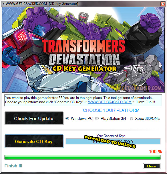 Transformatori: Devastation free product key generator