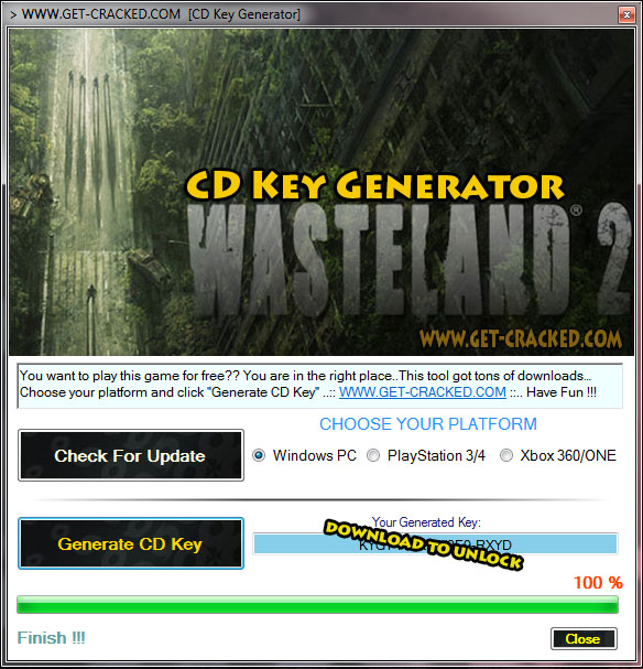 Use our latest Wasteland 2 key generator and generate your own free cd key