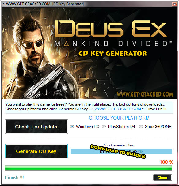 Deus Ex Mankind Divided CD Key Generator