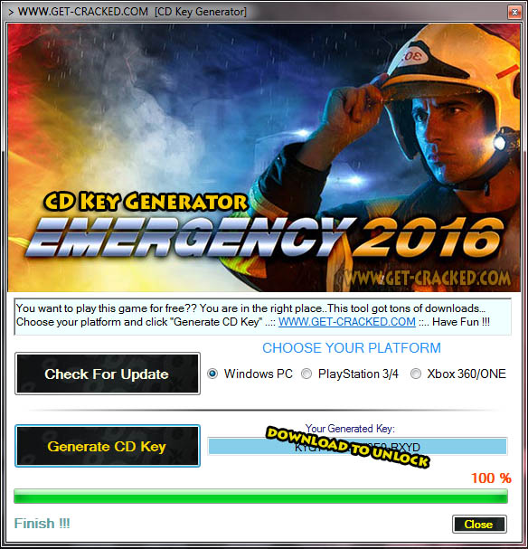 Emergency 2016 gratis cd key
