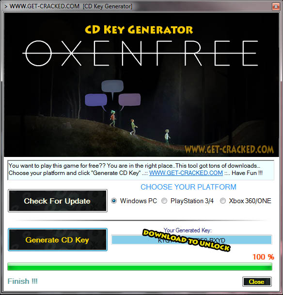 cd Oxenfree Giveaway key