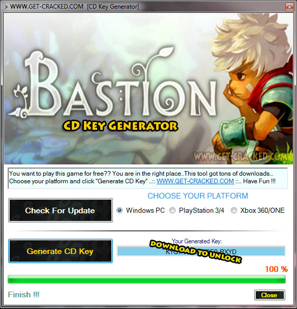 Bastion CD Key Generator 2016