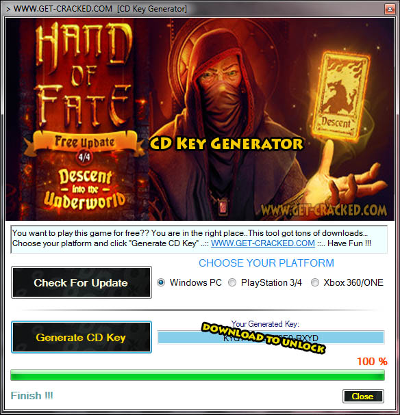 Hand of Fate CD Key Generator 2016