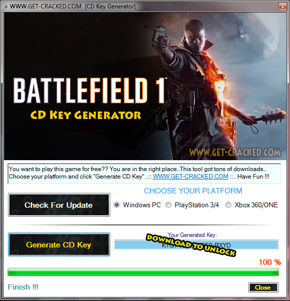 use our Battlefield 1 keygen and generate your own origin cd key