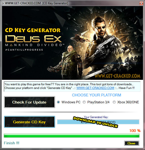 Deus Ex Mankind Divided free cd key generator tool 2017