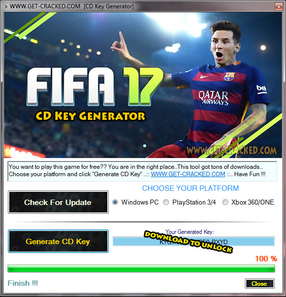 use our FIFA 17 cd key generator and play this game for totally free