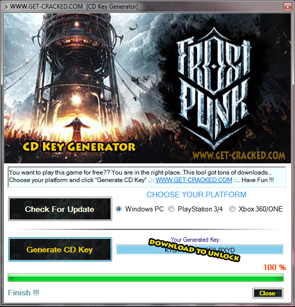 Frostpunk cd key generator download